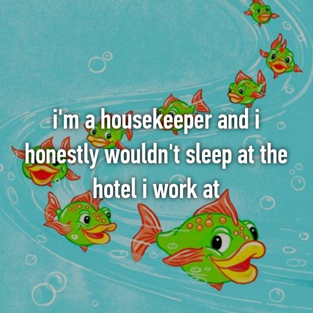 i'm a housekeeper and i honestly wouldn't sleep at the hotel i work at
