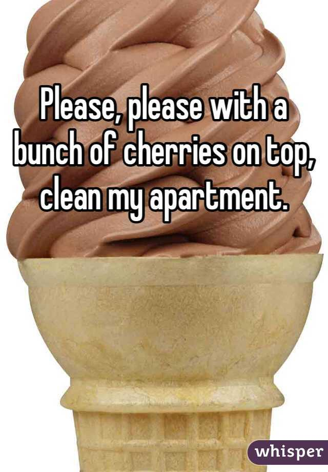 please with a bunch of cherries on top, clean my apartment.