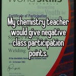 My chemistry teacher would give negative class participation points.