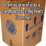 I am as graceful as a cardboard box. Big heart from me!