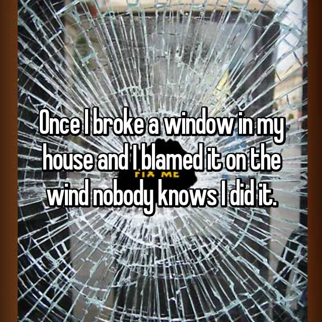 Once I broke a window in my house and I blamed it on the wind nobody knows I did it.