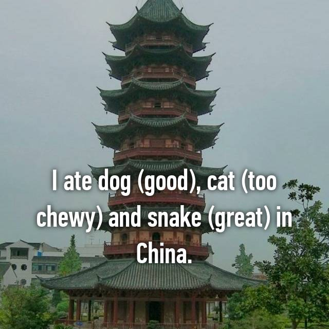 I ate dog (good), cat (too chewy) and snake (great) in China.