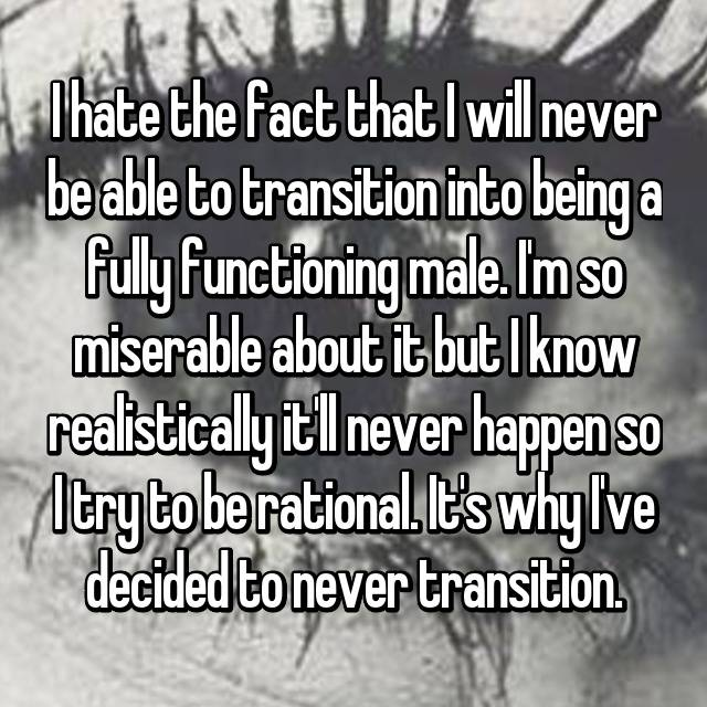I hate the fact that I will never be able to transition into being a fully functioning male. I'm so miserable about it but I know realistically it'll never happen so I try to be rational. It's why I've decided to never transition.