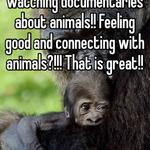 Awesome that you're watching documentaries about animals!! Feeling good and connecting with animals?!!! That is great!!