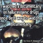 I watched a documentary on hallucinogenic drugs once. Best way to watch a documentary.