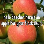 hello teacher here's an apple for your first day :)