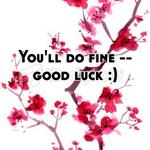 You'll do fine -- good luck :)