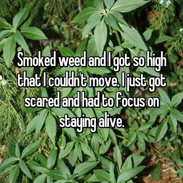 Smoked weed and I got so high that I couldn't move. I just got scared and had to focus on staying alive.
