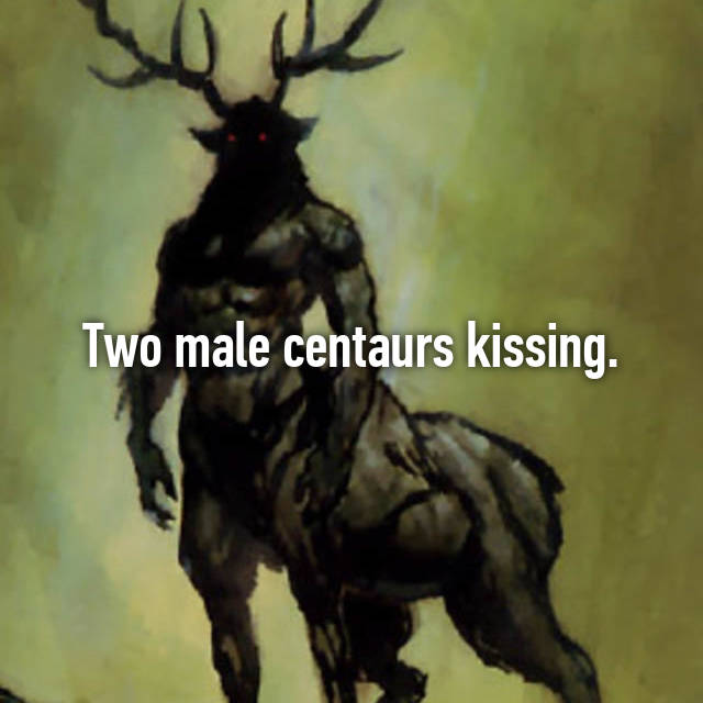 Two male centaurs kissing.