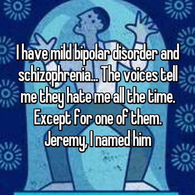 I have mild bipolar disorder and schizophrenia... The voices tell me they hate me all the time. Except for one of them. Jeremy, I named him