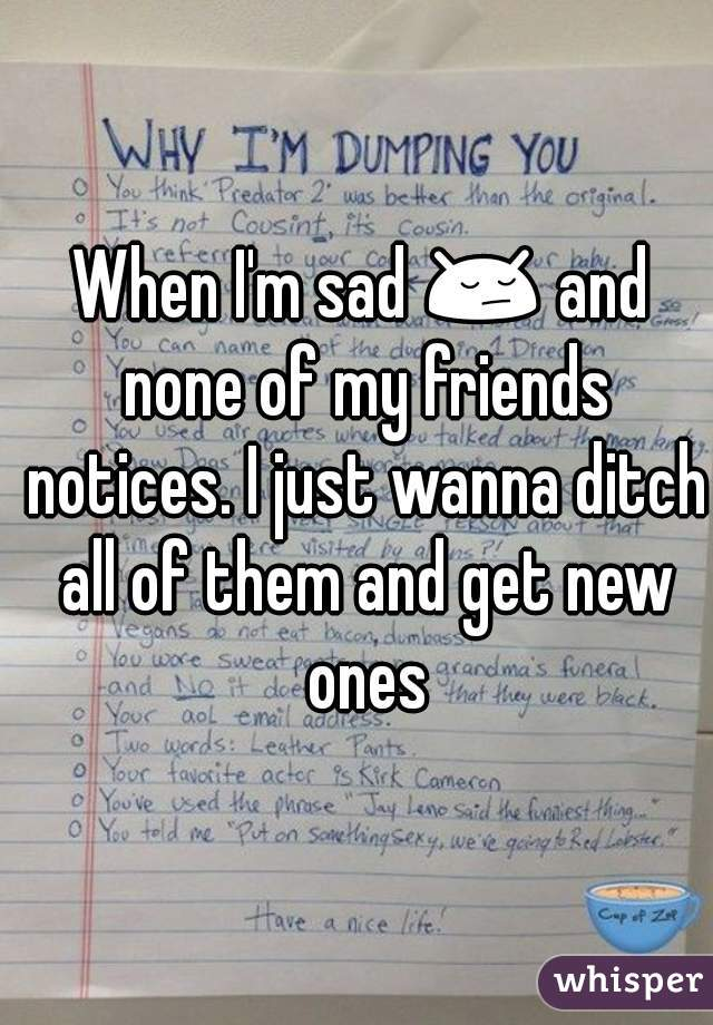 When I'm sad 😔 and none of my friends notices. I just wanna ditch all of them and get new ones