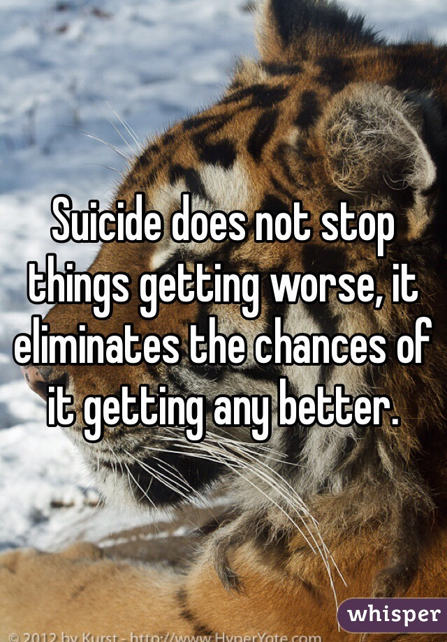 Suicide does not stop things getting worse, it eliminates the chances of it getting any better.