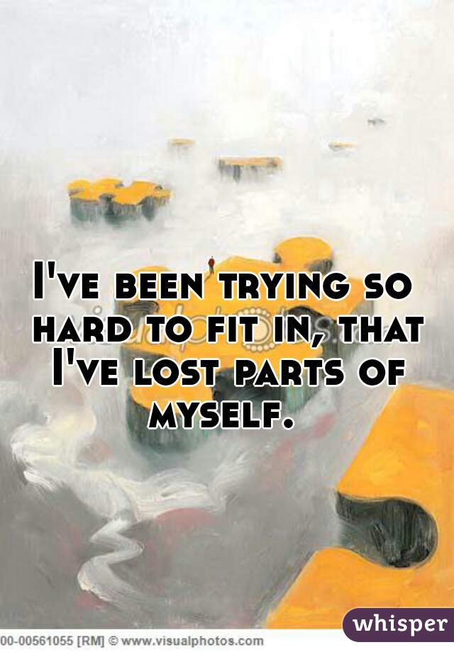 I've been trying so hard to fit in, that I've lost parts of myself.