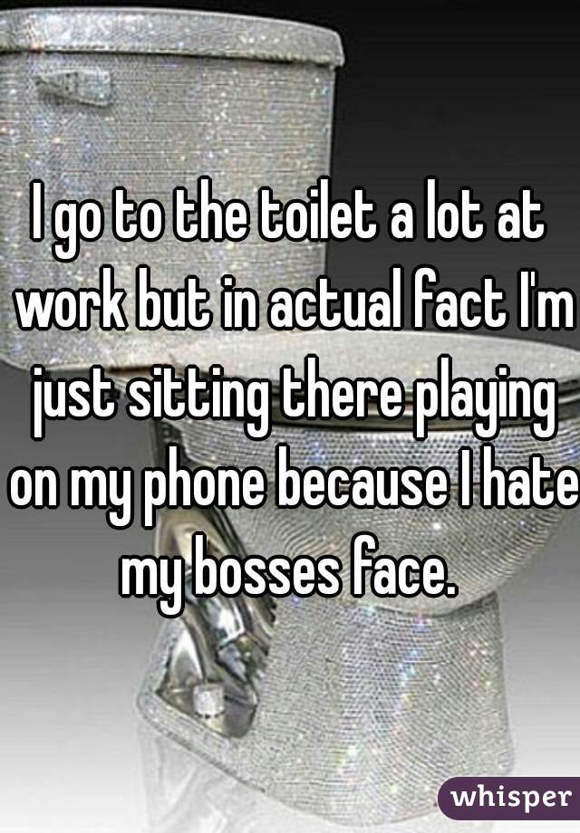 I go to the toilet a lot at work but in actual fact I'm just sitting there playing on my phone because I hate my bosses face.
