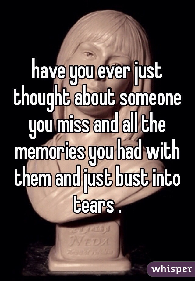 have you ever just thought about someone you miss and all the memories you had with them and just bust into tears .