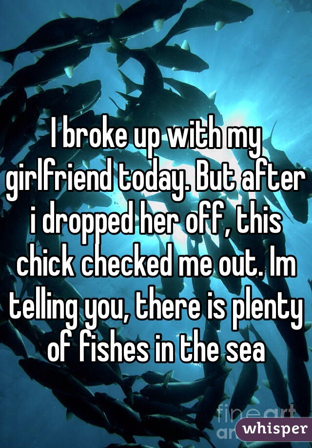 I broke up with my girlfriend today. But after i dropped her off, this chick checked me out. Im telling you, there is plenty of fishes in the sea