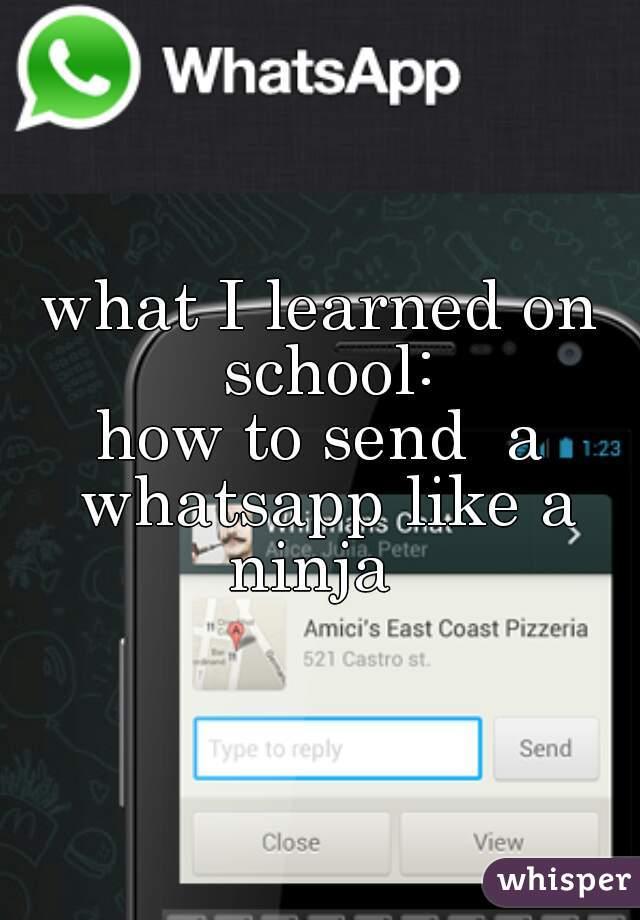 what I learned on school: how to send  a whatsapp like a ninja