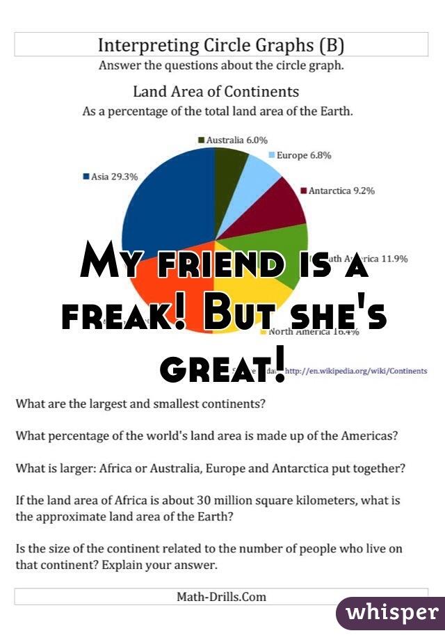 My friend is a freak! But she's great!