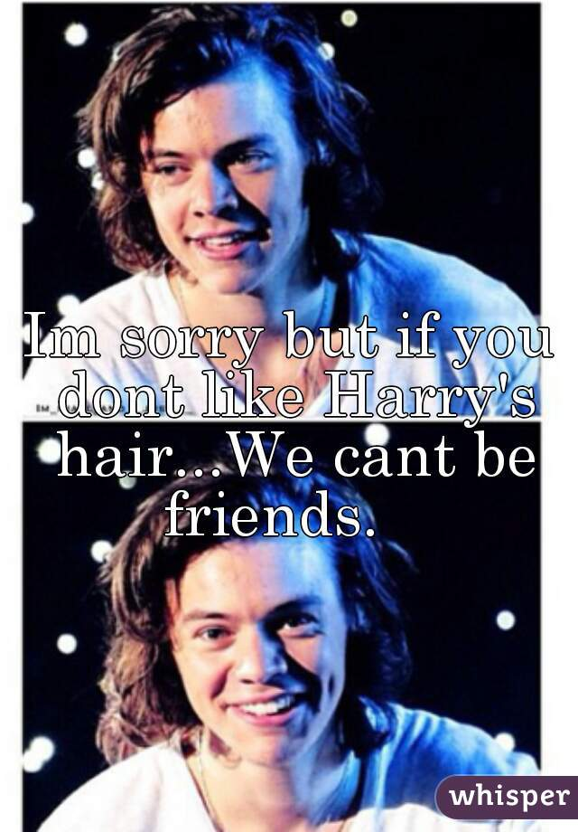 Im sorry but if you dont like Harry's hair...We cant be friends.