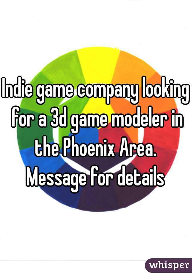 Indie game company looking for a 3d game modeler in the Phoenix Area.   Message for details