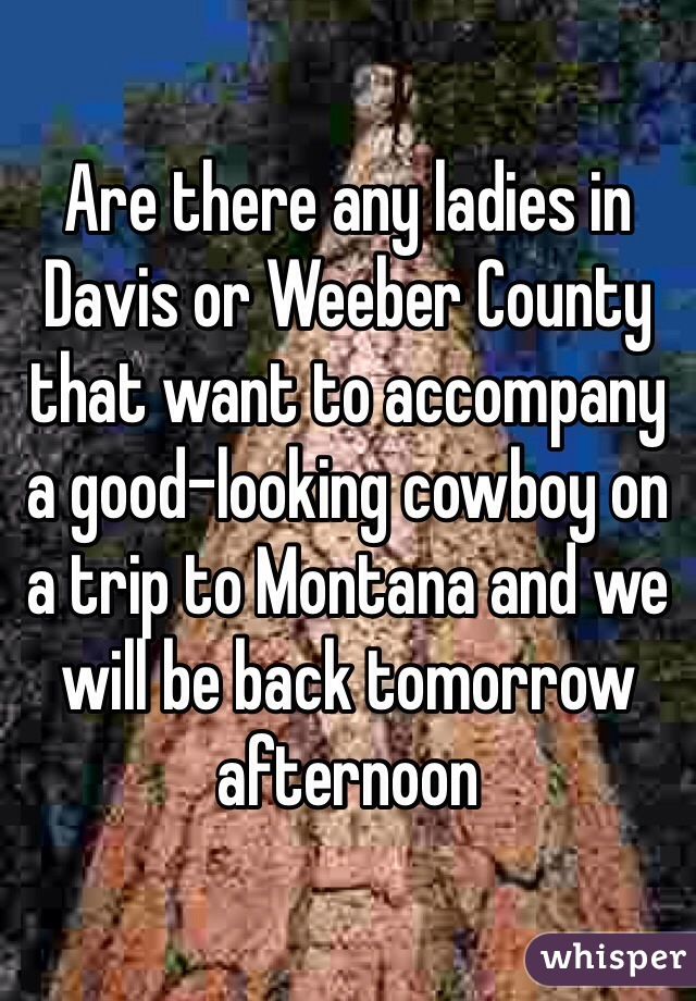 Are there any ladies in Davis or Weeber County that want to accompany a good-looking cowboy on a trip to Montana and we will be back tomorrow afternoon
