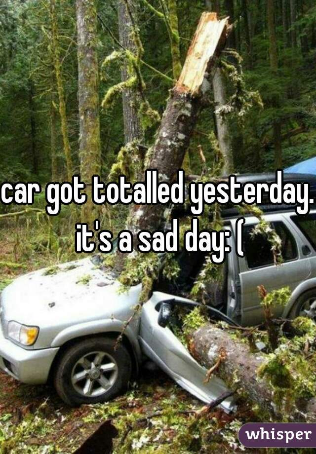 car got totalled yesterday. it's a sad day: (