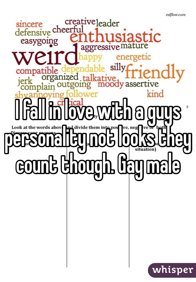 I fall in love with a guys personality not looks they count though. Gay male
