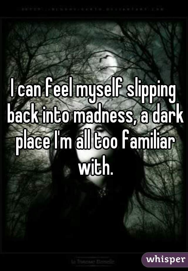 I can feel myself slipping back into madness, a dark place I'm all too familiar with.