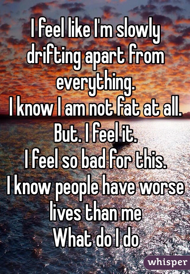 I feel like I'm slowly drifting apart from everything.  I know I am not fat at all.  But. I feel it.  I feel so bad for this.  I know people have worse lives than me  What do I do