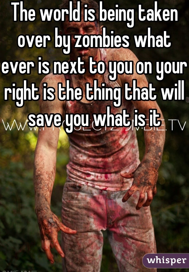 The world is being taken over by zombies what ever is next to you on your right is the thing that will save you what is it