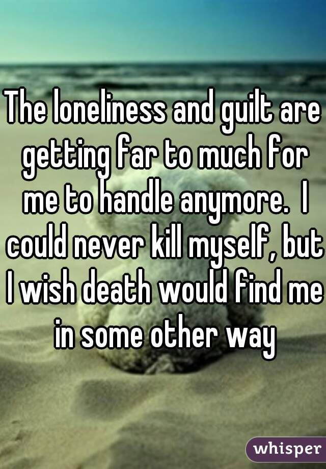 The loneliness and guilt are getting far to much for me to handle anymore.  I could never kill myself, but I wish death would find me in some other way