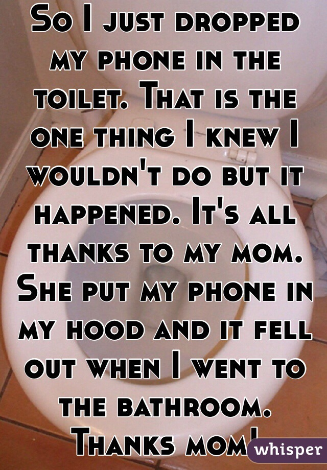 So I just dropped my phone in the toilet. That is the one thing I knew I wouldn't do but it happened. It's all thanks to my mom. She put my phone in my hood and it fell out when I went to the bathroom. Thanks mom!