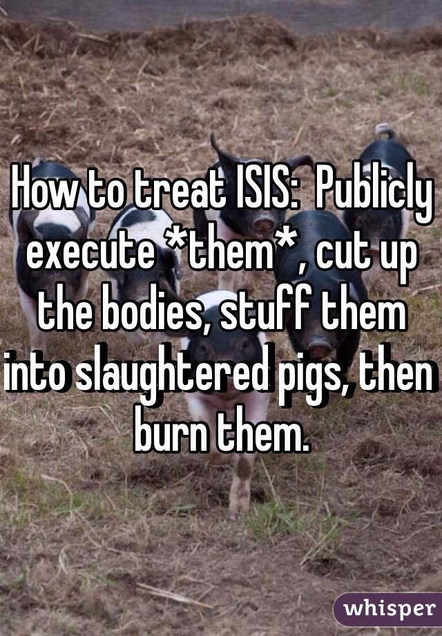 How to treat ISIS:  Publicly execute *them*, cut up the bodies, stuff them into slaughtered pigs, then burn them.