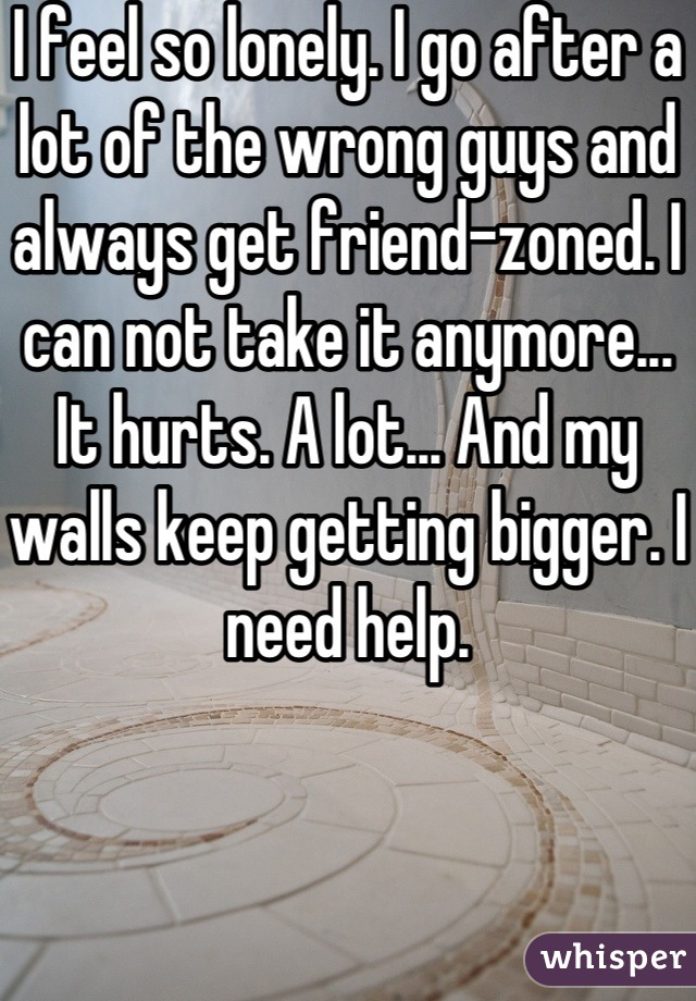 I feel so lonely. I go after a lot of the wrong guys and always get friend-zoned. I can not take it anymore... It hurts. A lot... And my walls keep getting bigger. I need help.