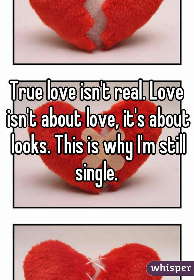 True love isn't real. Love isn't about love, it's about looks. This is why I'm still single.