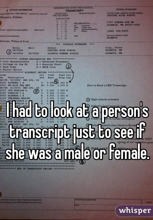 I had to look at a person's transcript just to see if she was a male or female.