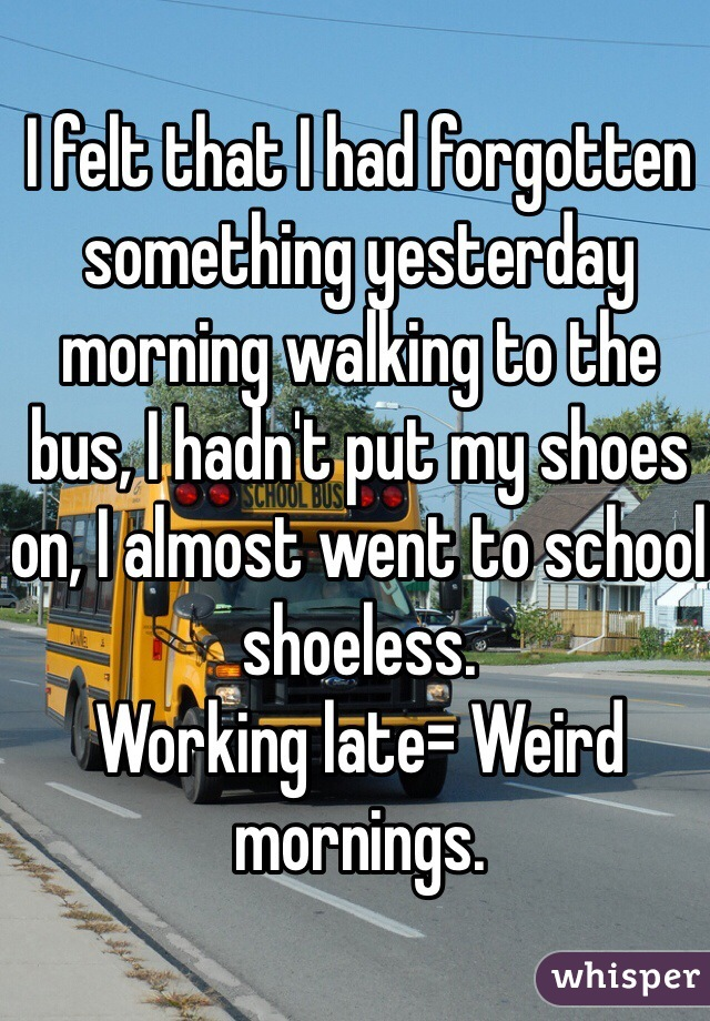 I felt that I had forgotten something yesterday morning walking to the bus, I hadn't put my shoes on, I almost went to school shoeless. Working late= Weird mornings.