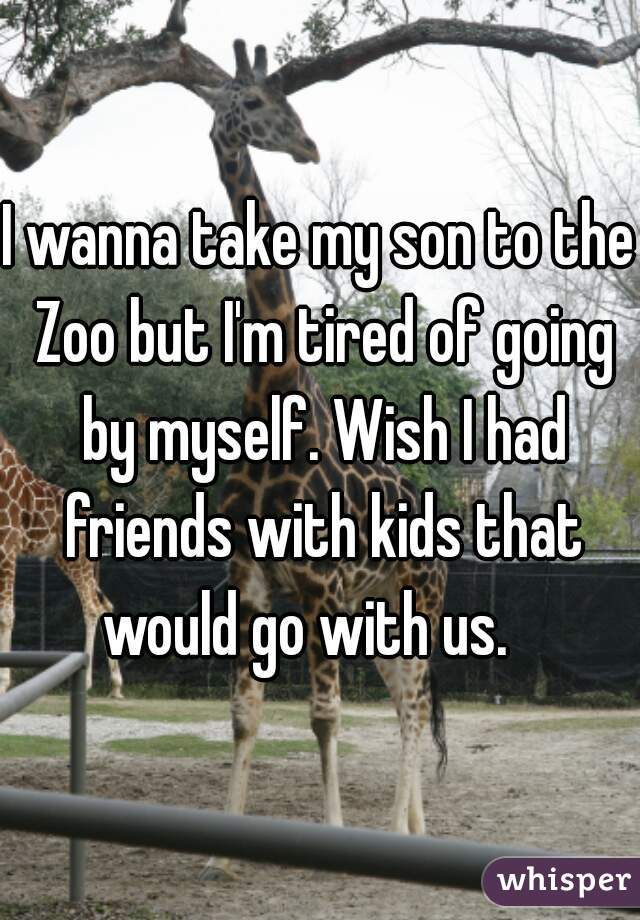 I wanna take my son to the Zoo but I'm tired of going by myself. Wish I had friends with kids that would go with us.