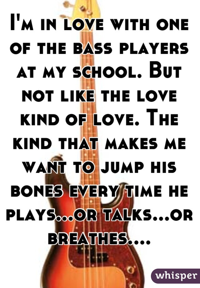 I'm in love with one of the bass players at my school. But not like the love kind of love. The kind that makes me want to jump his bones every time he plays...or talks...or breathes....