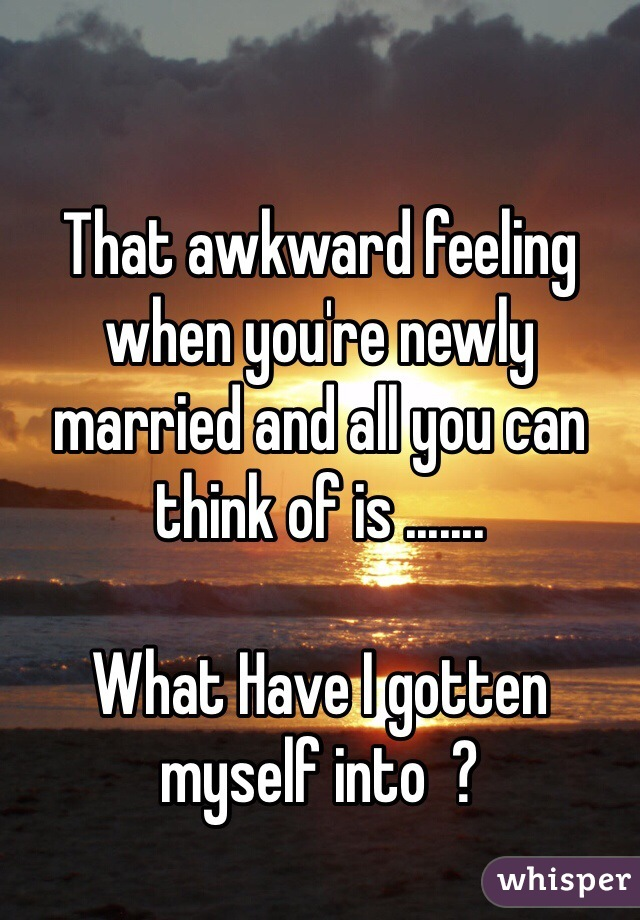 That awkward feeling when you're newly married and all you can think of is .......  What Have I gotten myself into  ?