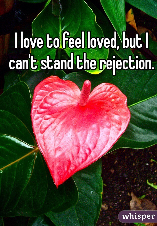 I love to feel loved, but I can't stand the rejection.