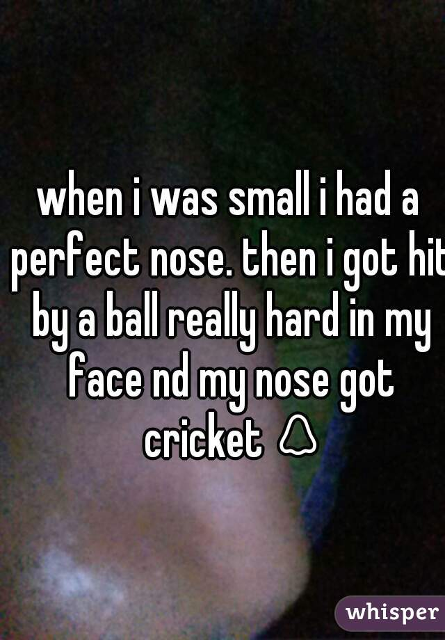 when i was small i had a perfect nose. then i got hit by a ball really hard in my face nd my nose got cricket 👃