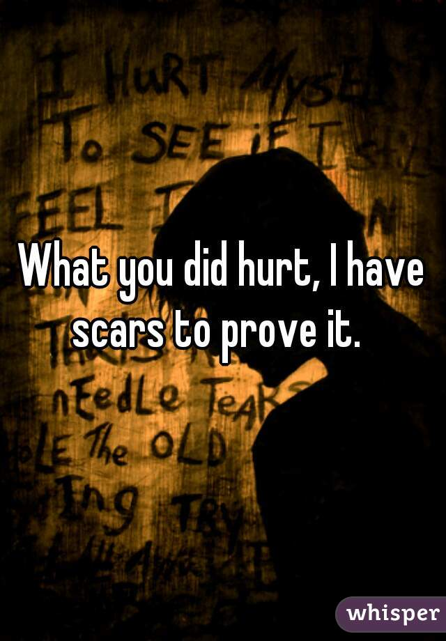 What you did hurt, I have scars to prove it.