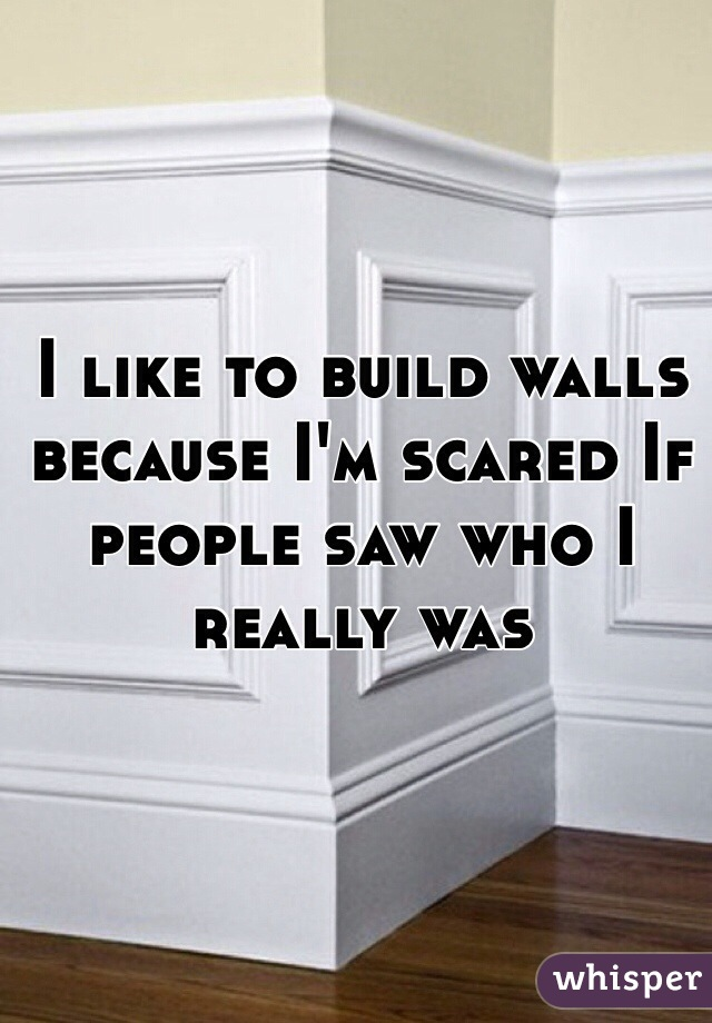I like to build walls because I'm scared If people saw who I really was