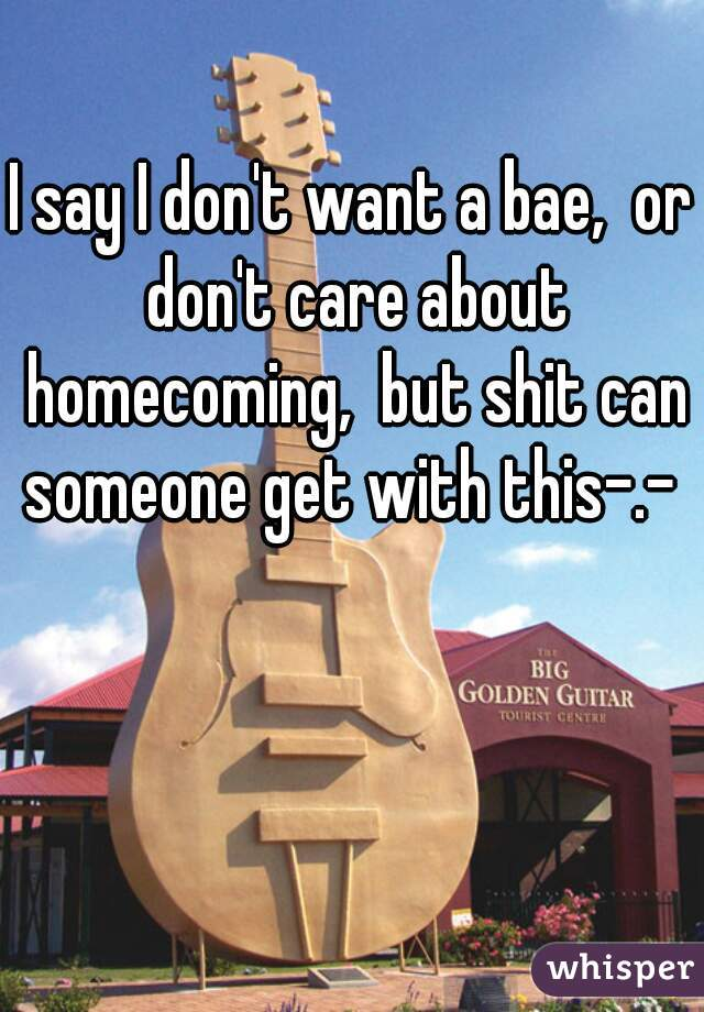 I say I don't want a bae,  or don't care about homecoming,  but shit can someone get with this-.-