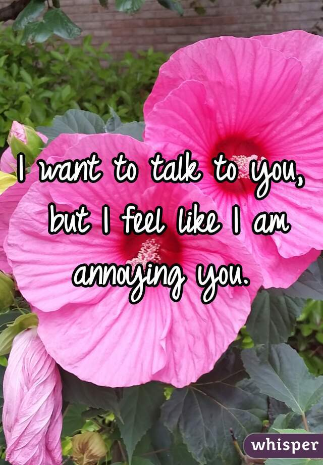 I want to talk to you, but I feel like I am annoying you.
