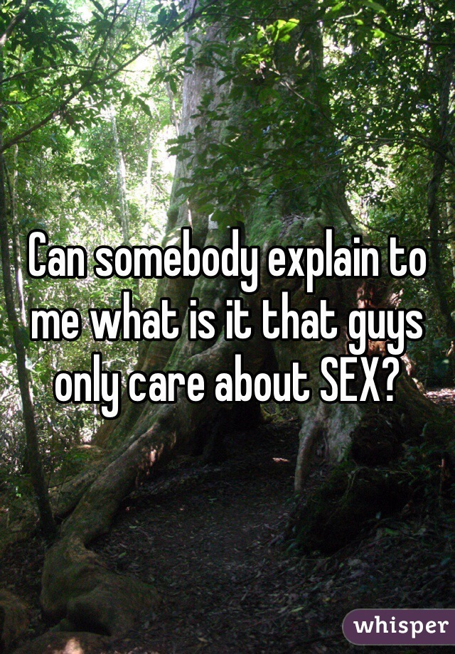 Can somebody explain to me what is it that guys only care about SEX?