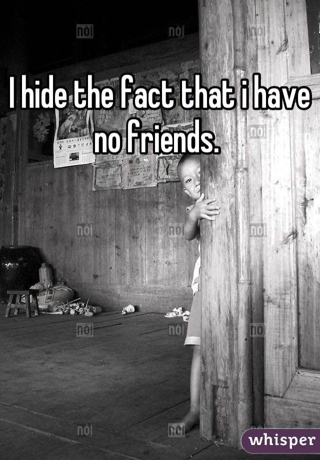 I hide the fact that i have no friends.