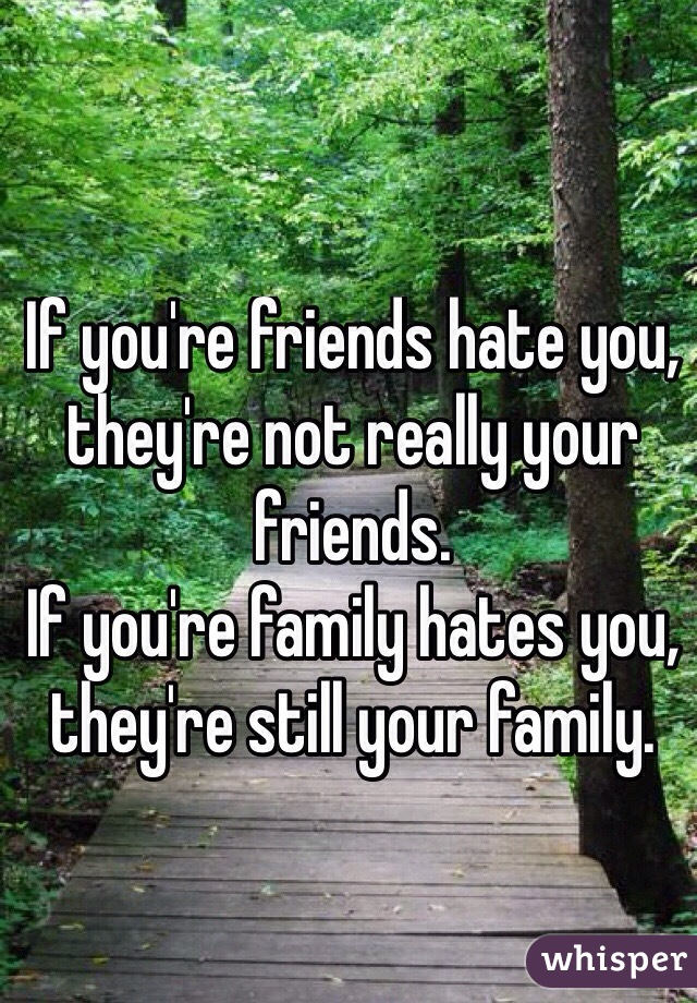 If you're friends hate you, they're not really your friends.  If you're family hates you, they're still your family.