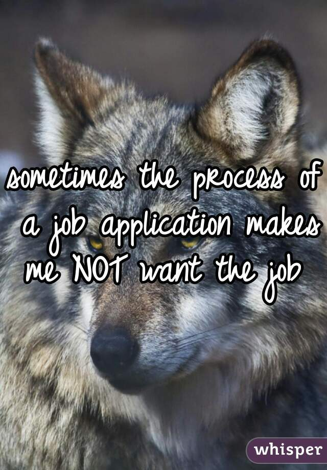 sometimes the process of a job application makes me NOT want the job